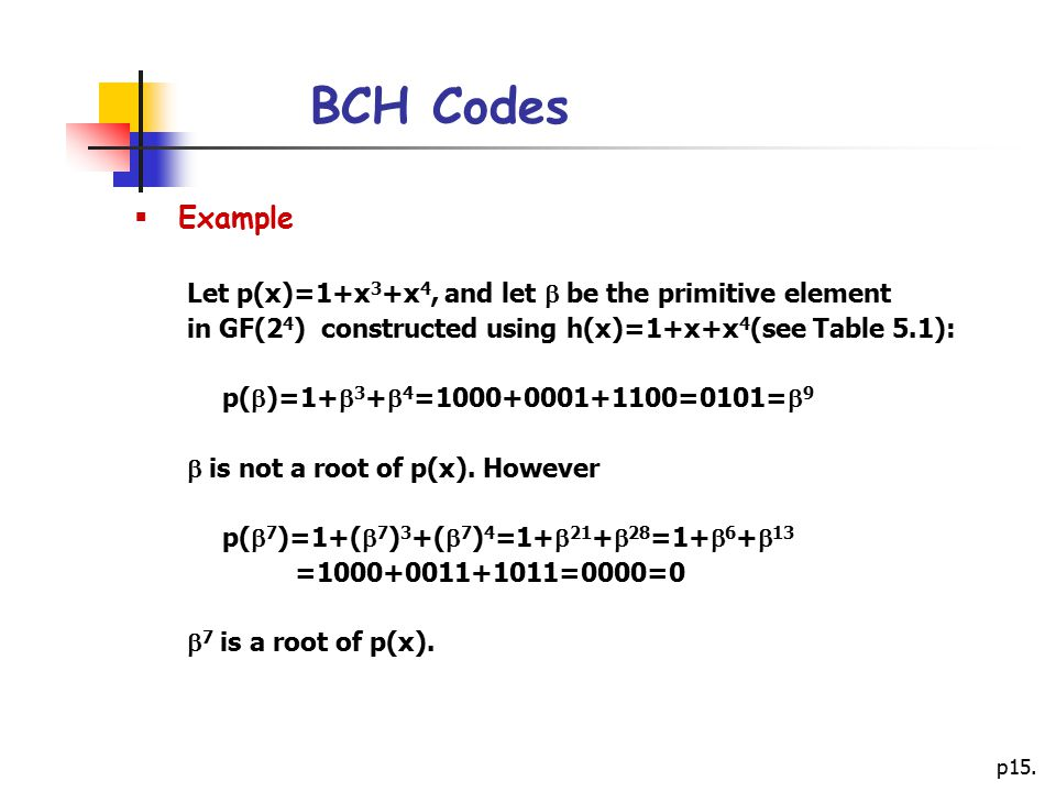 BCH Codes Example Let p(x)=1+x3+x4, and let  be the primitive element