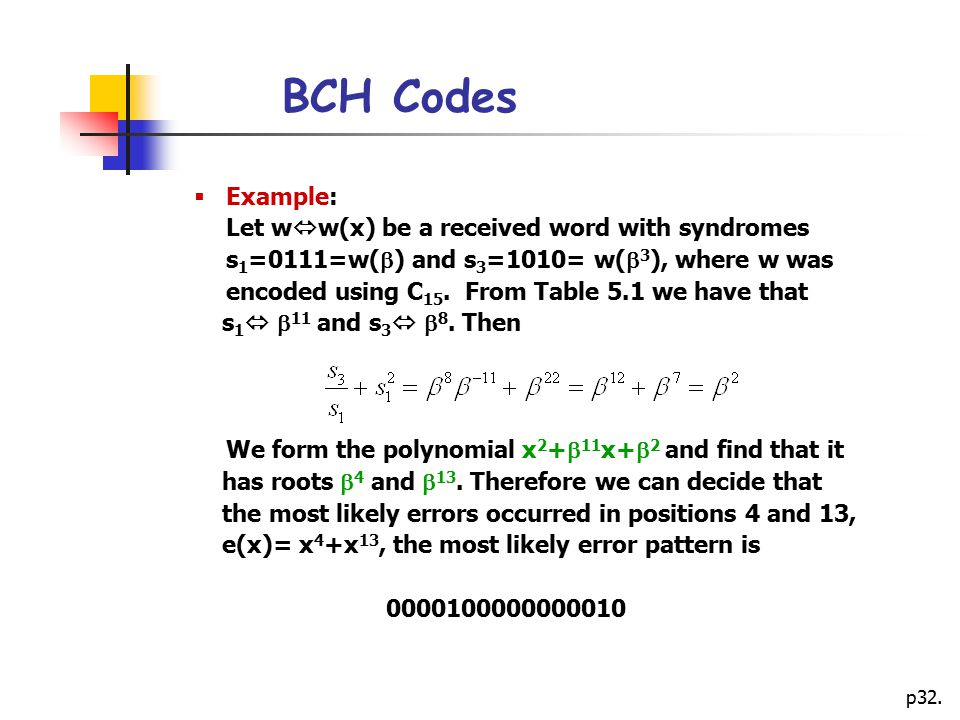 BCH Codes Example: