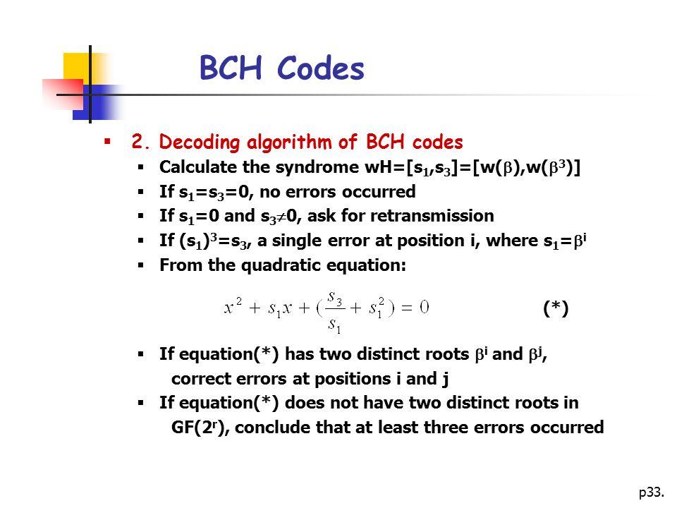 BCH Codes 2. Decoding algorithm of BCH codes