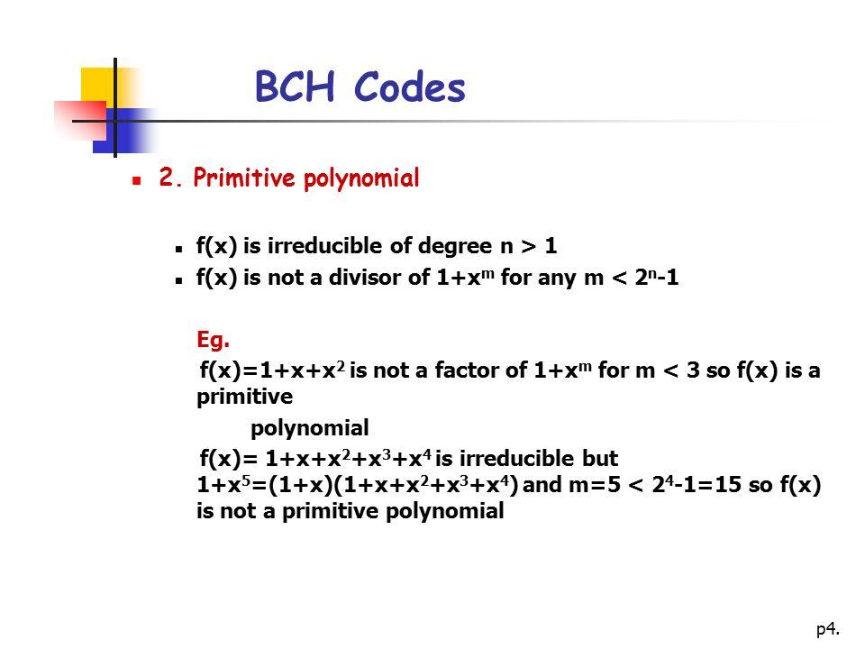 BCH Codes 2. Primitive polynomial