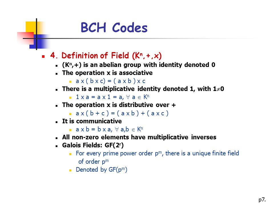 BCH Codes 4. Definition of Field (Kn,+,x)