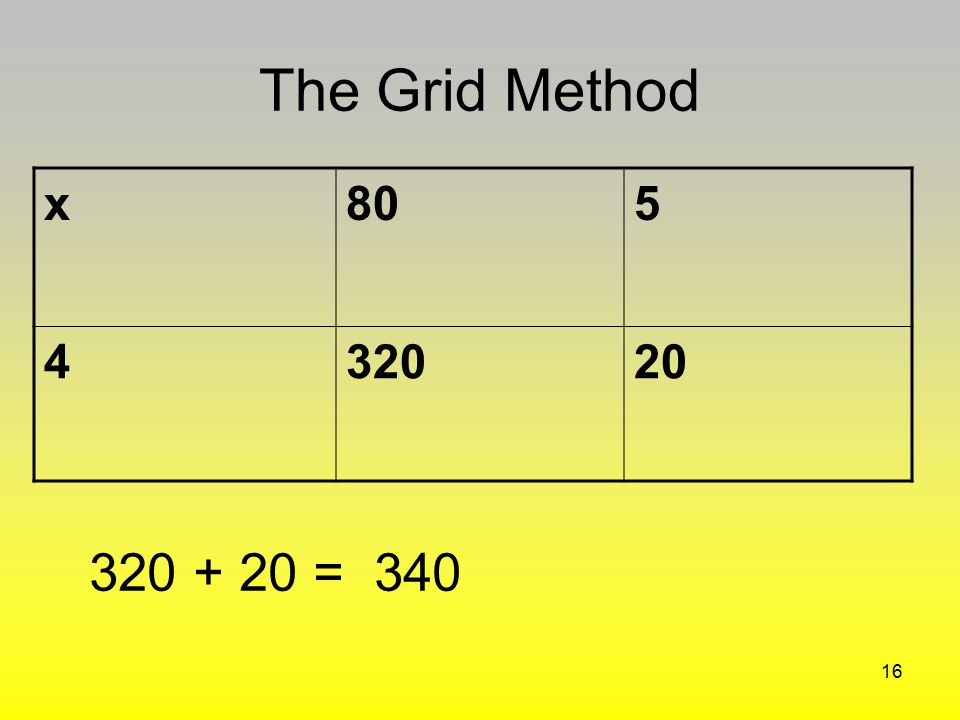 The Grid Method x 80 5 4 320 20 320 + 20 = 340
