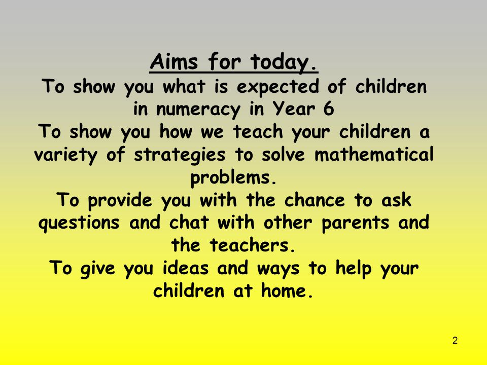 Aims for today.
