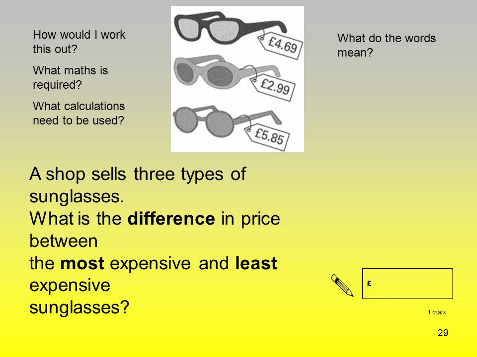 A shop sells three types of sunglasses.