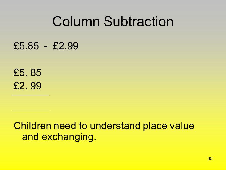 Column Subtraction £5.85 - £2.99 £5. 85 £2. 99