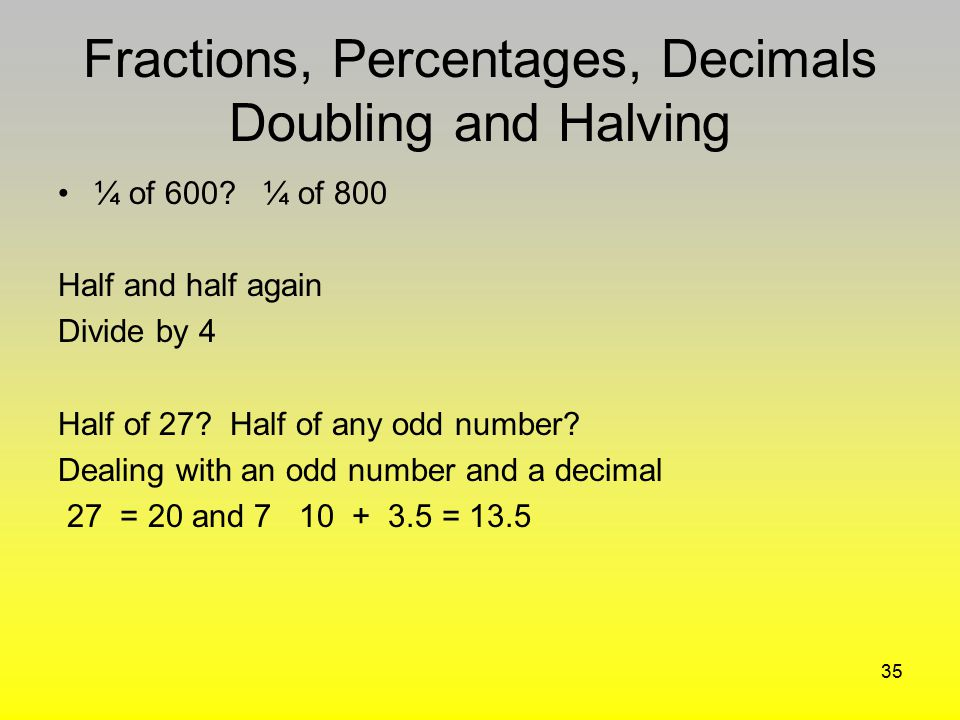 Fractions, Percentages, Decimals Doubling and Halving