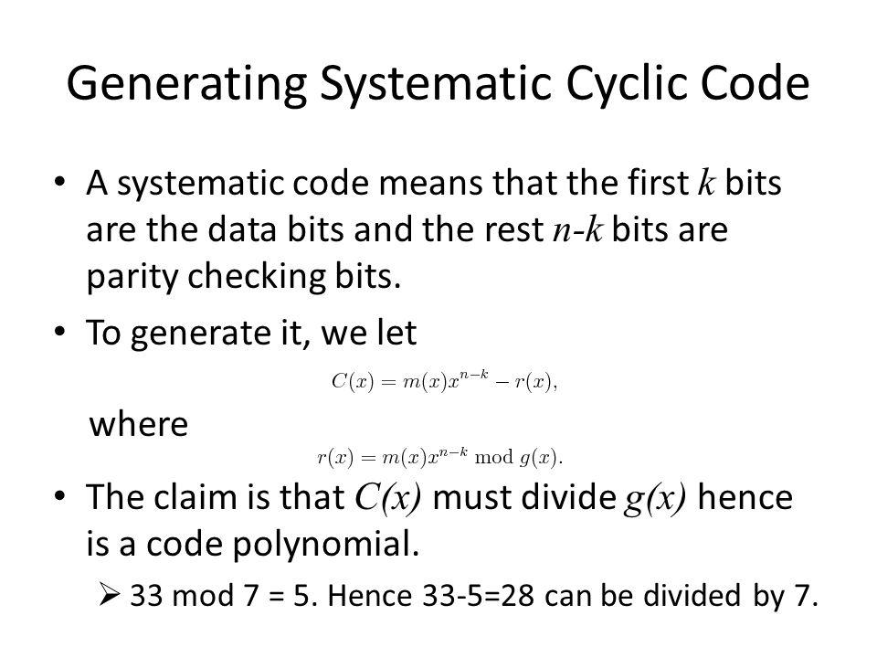 Generating Systematic Cyclic Code