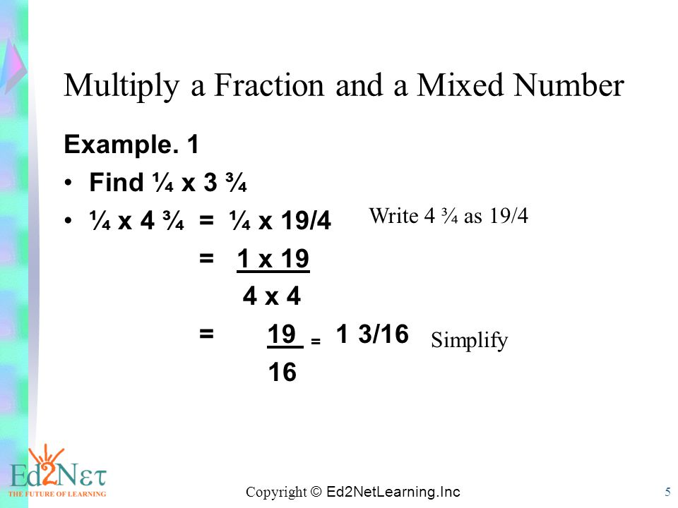 Multiply a Fraction and a Mixed Number