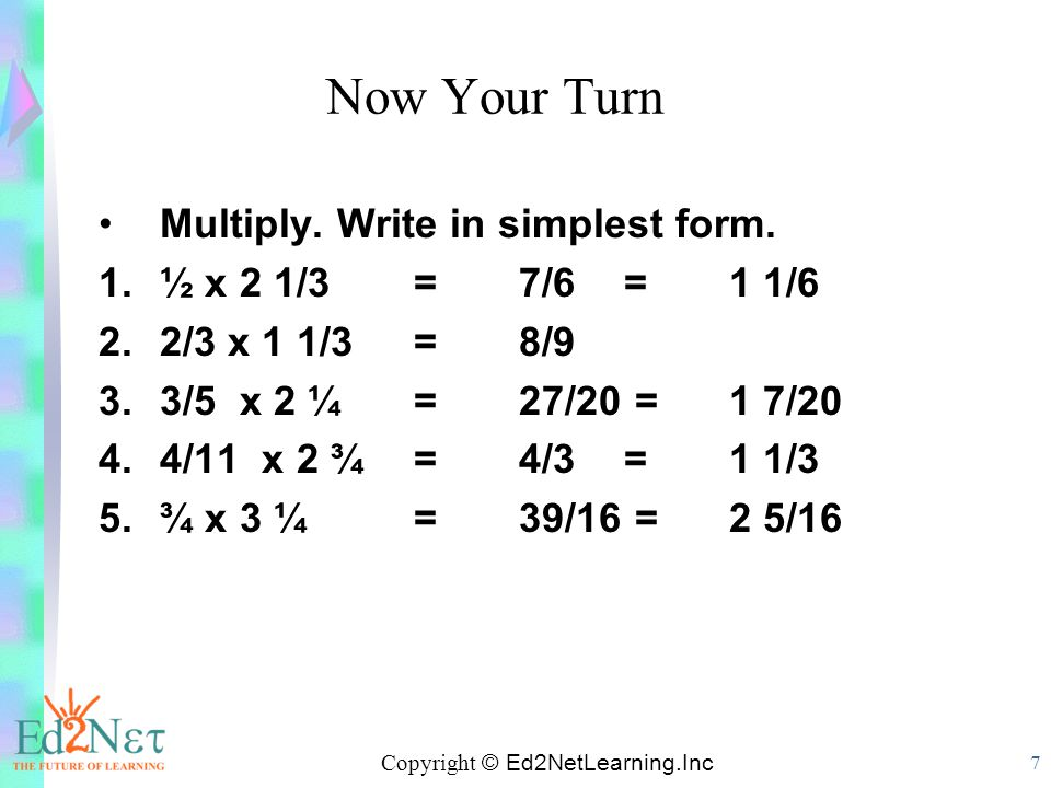 Multiplying Fractions & Mixed Numbers - ppt video online download