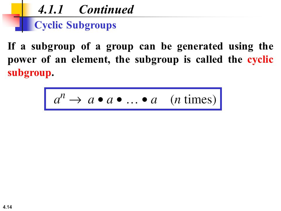 4.1.1 Continued Cyclic Subgroups