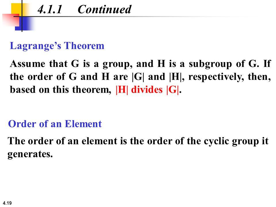 4.1.1 Continued Lagrange's Theorem