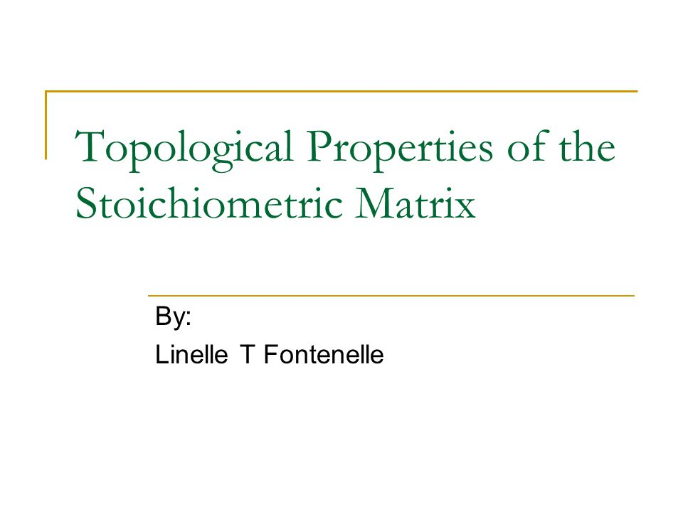 Topological Properties of the Stoichiometric Matrix