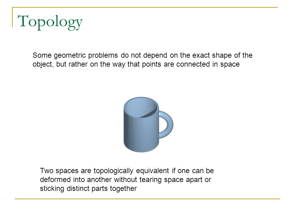 Topology Some geometric problems do not depend on the exact shape of the object, but rather on the way that points are connected in space.