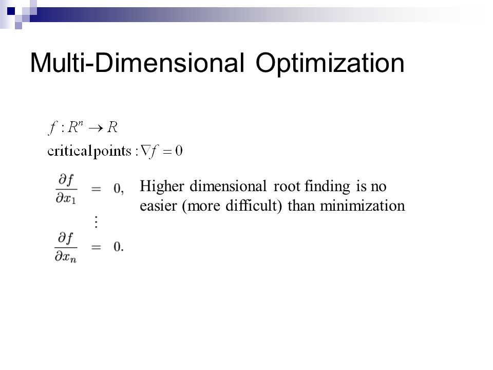 Multi-Dimensional Optimization