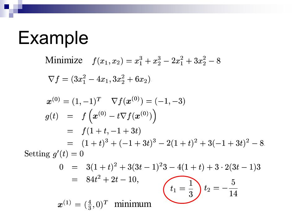 Example Minimize minimum