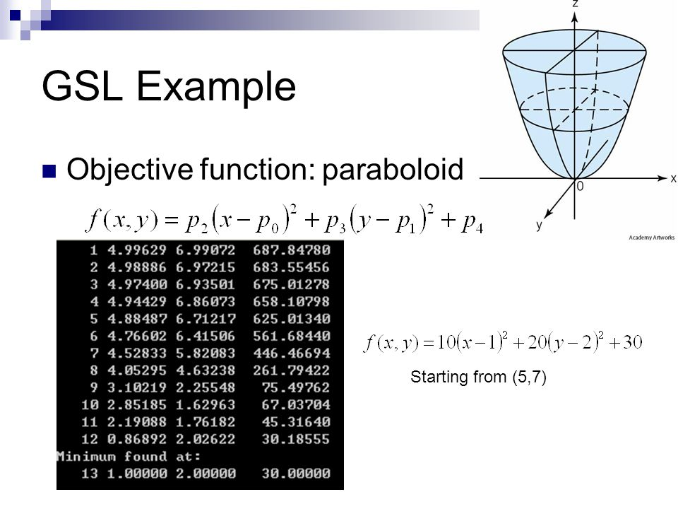 GSL Example Objective function: paraboloid Starting from (5,7)
