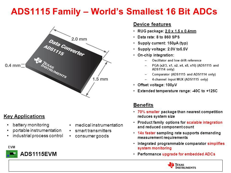 ADS1115 Family – World's Smallest 16 Bit ADCs