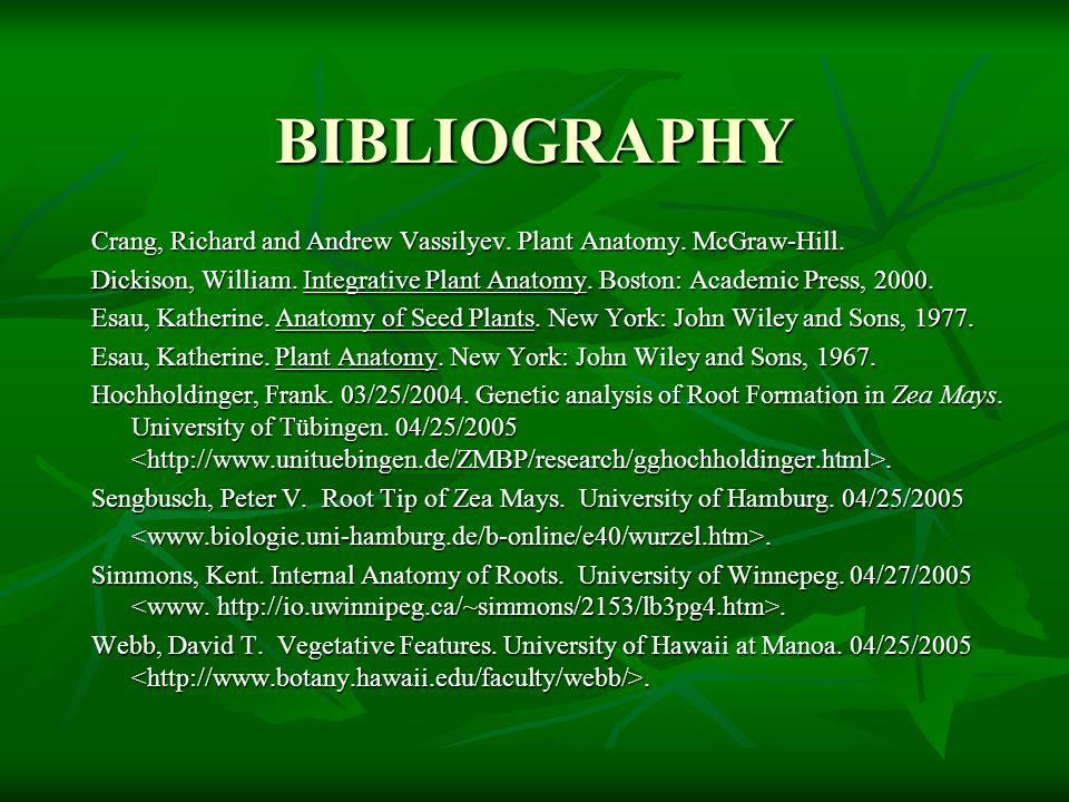 BIBLIOGRAPHY Crang, Richard and Andrew Vassilyev. Plant Anatomy. McGraw-Hill.
