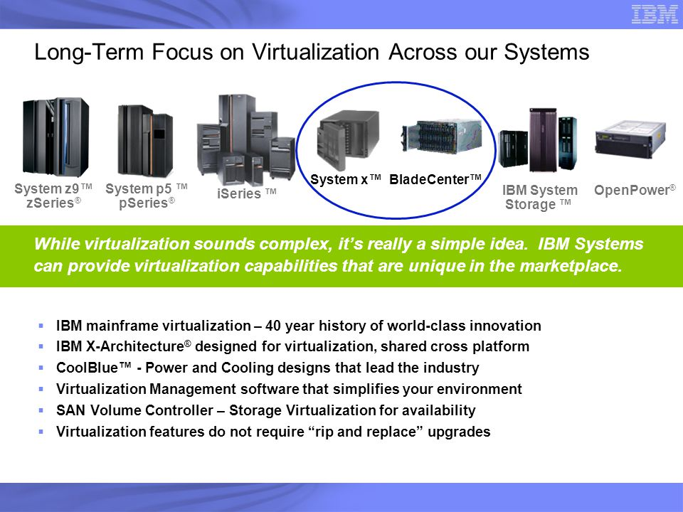 Long-Term Focus on Virtualization Across our Systems
