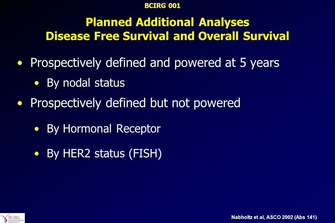 Planned Additional Analyses Disease Free Survival and Overall Survival