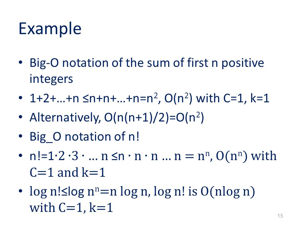 Example Big-O notation of the sum of first n positive integers