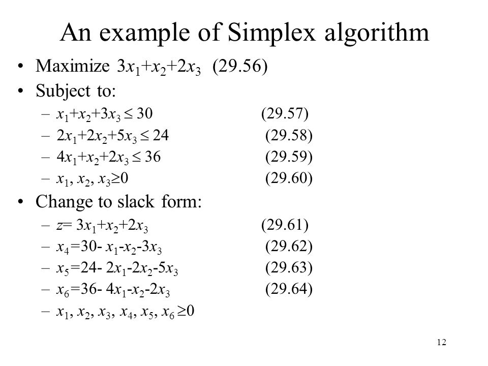 An example of Simplex algorithm
