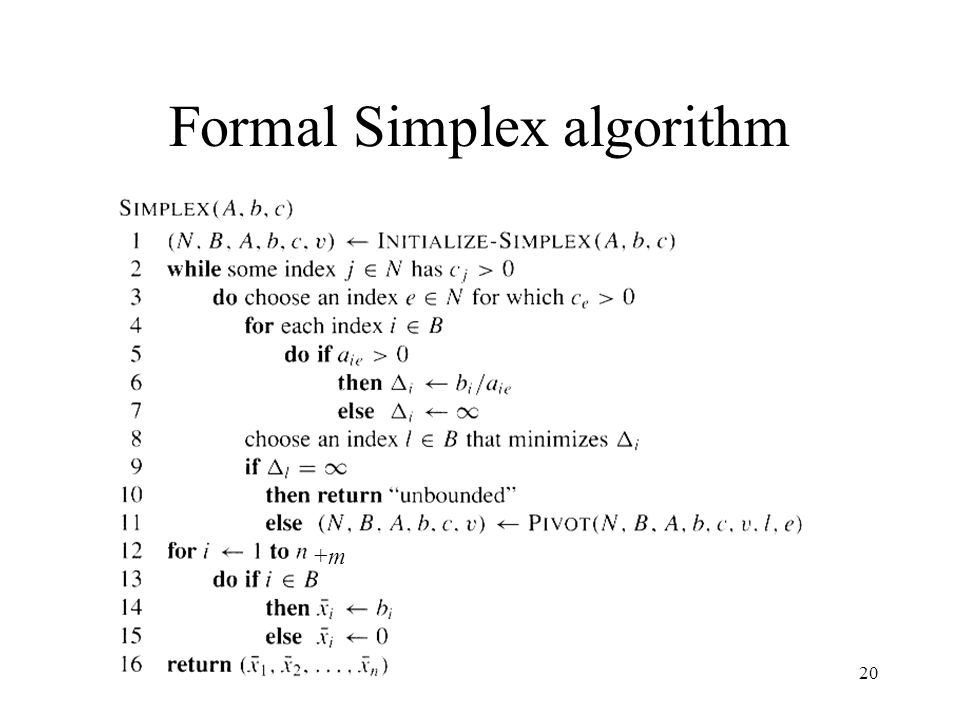 Formal Simplex algorithm