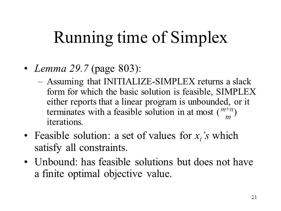 Running time of Simplex