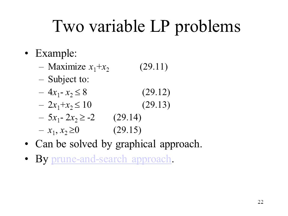 Two variable LP problems