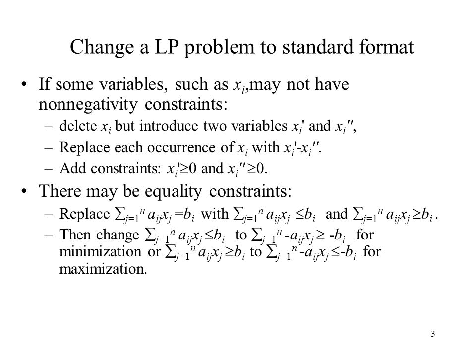 Change a LP problem to standard format