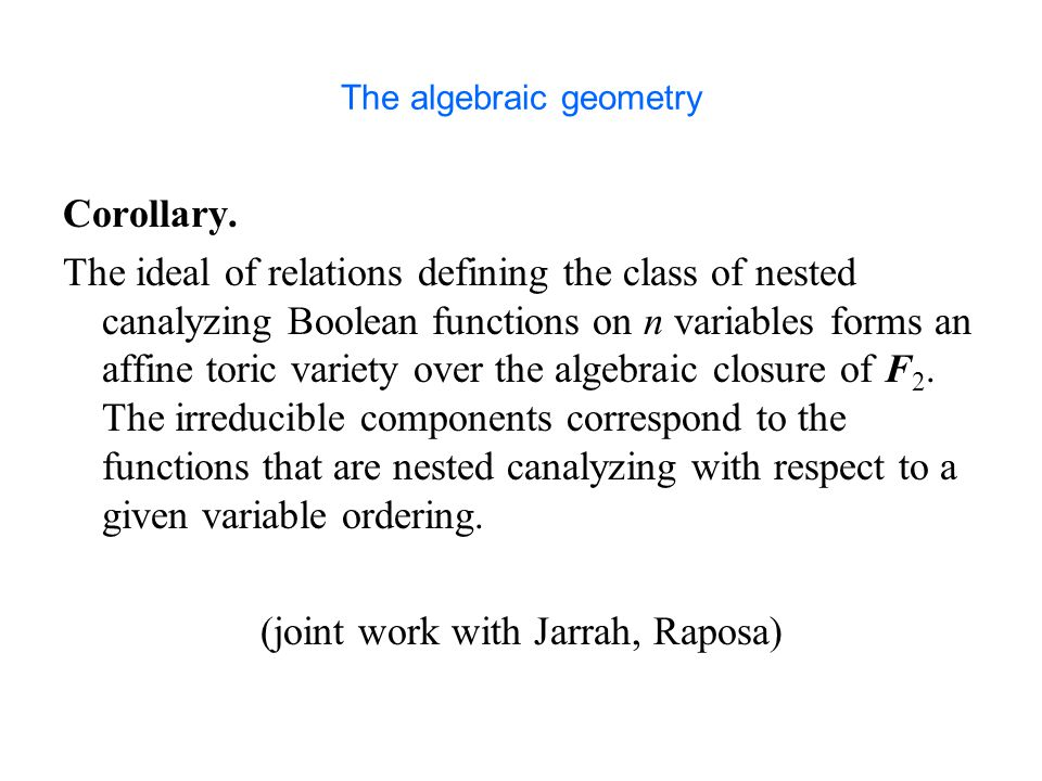 The algebraic geometry