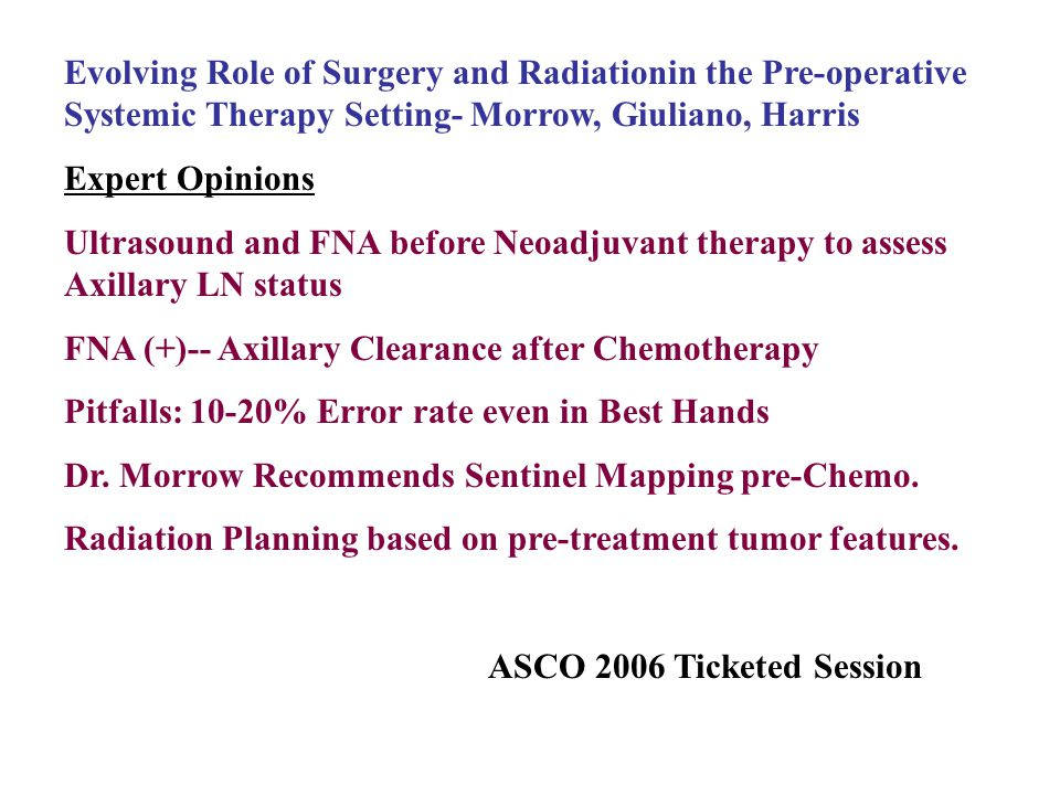 Evolving Role of Surgery and Radiationin the Pre-operative Systemic Therapy Setting- Morrow, Giuliano, Harris