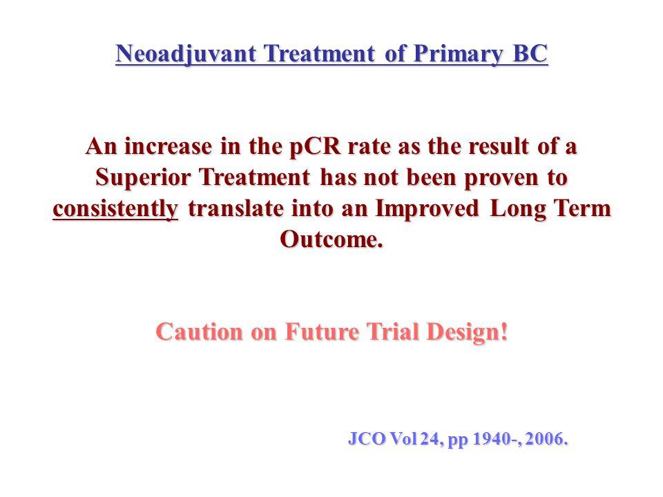 Neoadjuvant Treatment of Primary BC Caution on Future Trial Design!