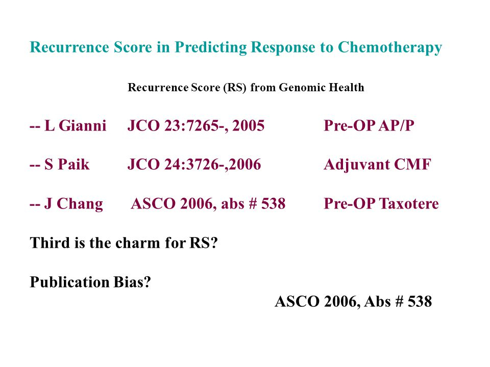 Recurrence Score in Predicting Response to Chemotherapy