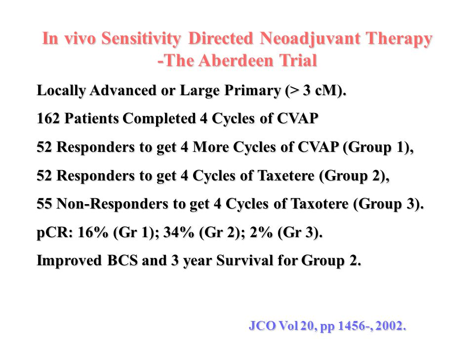 In vivo Sensitivity Directed Neoadjuvant Therapy -The Aberdeen Trial