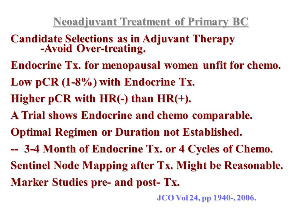 Neoadjuvant Treatment of Primary BC