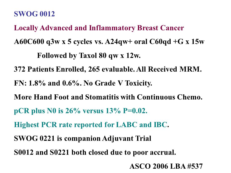 SWOG 0012 Locally Advanced and Inflammatory Breast Cancer. A60C600 q3w x 5 cycles vs. A24qw+ oral C60qd +G x 15w.