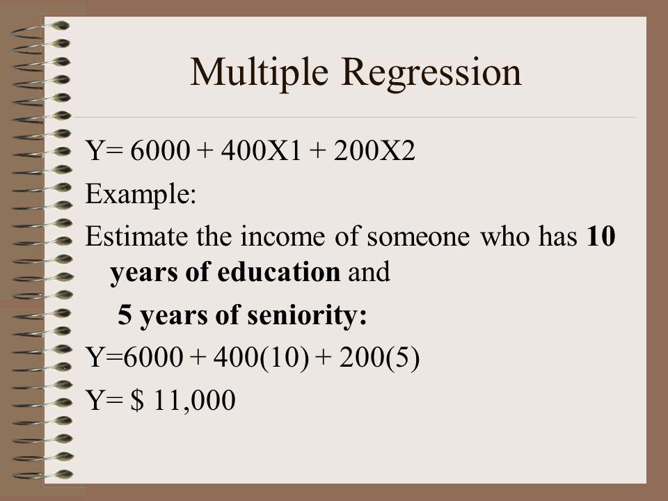 Multiple Regression Y= 6000 + 400X1 + 200X2 Example: