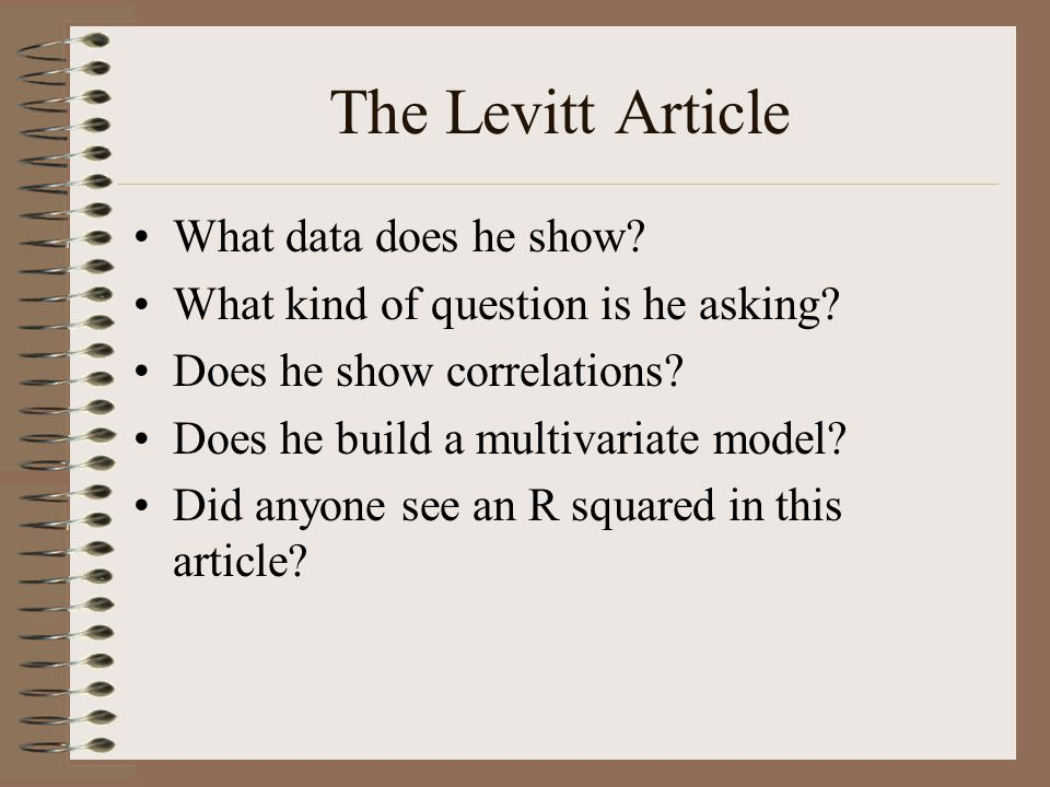 The Levitt Article What data does he show