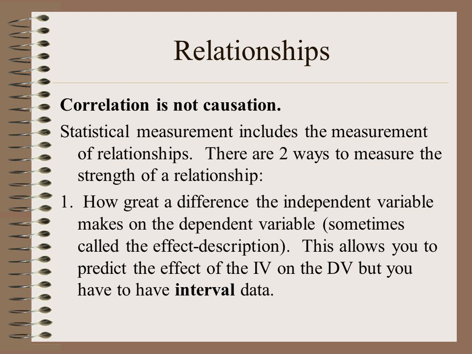 Relationships Correlation is not causation.