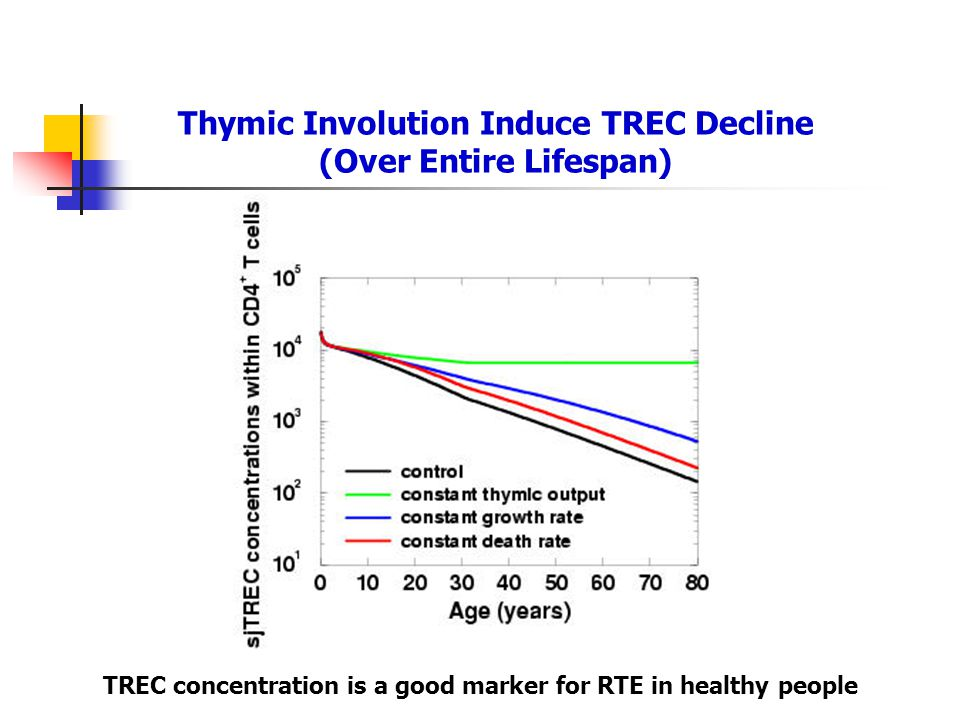 Thymic Involution Induce TREC Decline (Over Entire Lifespan)
