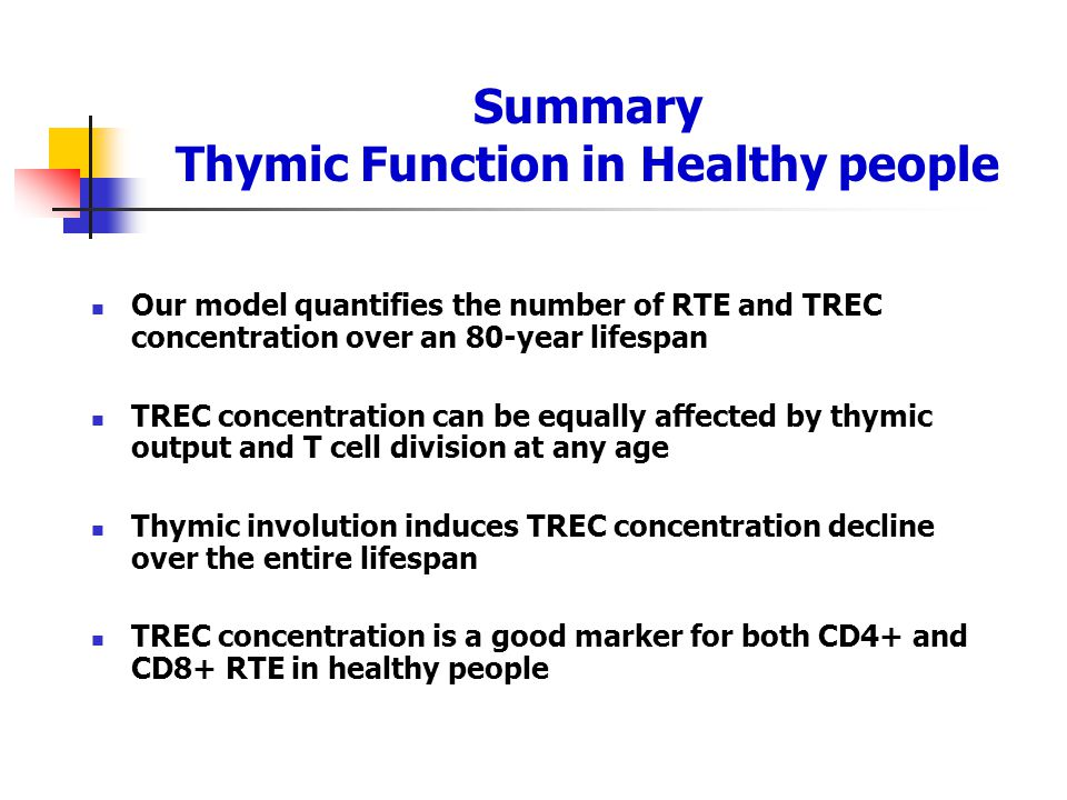Summary Thymic Function in Healthy people