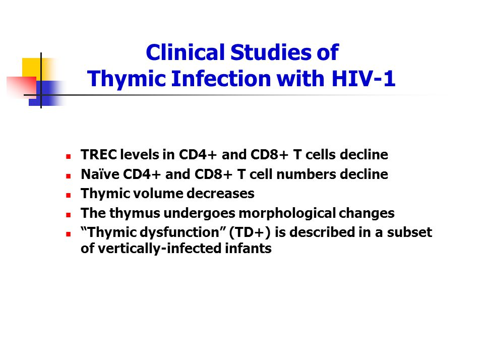 Clinical Studies of Thymic Infection with HIV-1