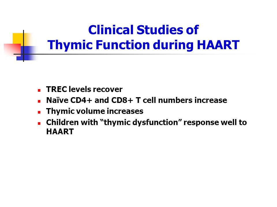 Clinical Studies of Thymic Function during HAART