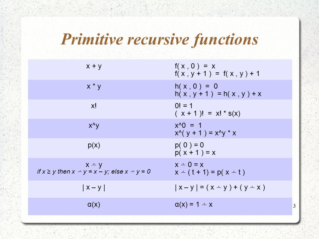 Primitive recursive functions