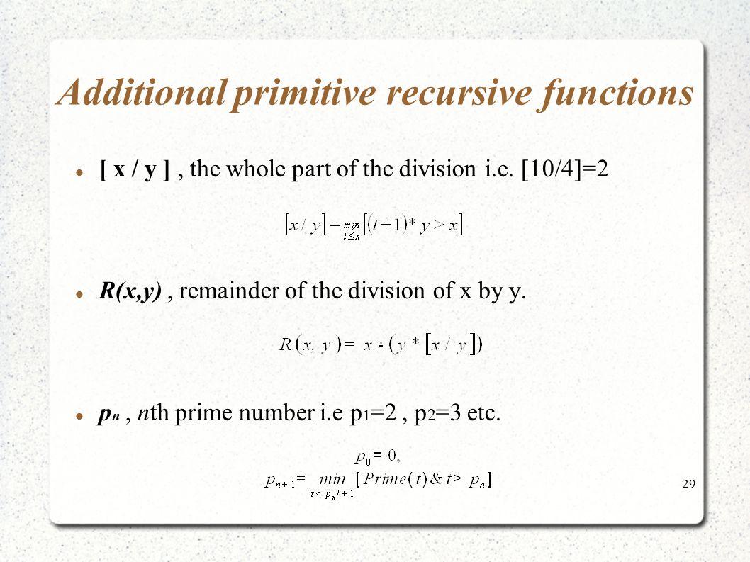Additional primitive recursive functions