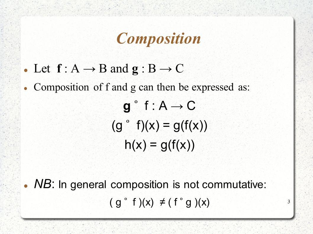 Composition Let f : A → B and g : B → C g ͦ f : A → C