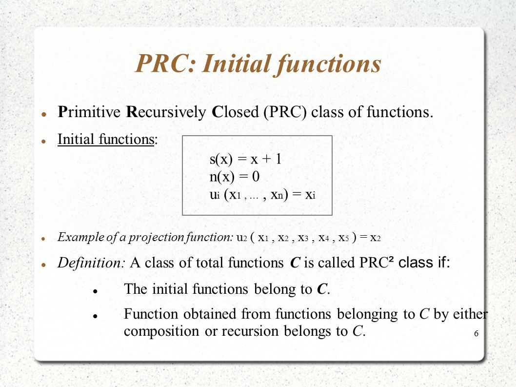 PRC: Initial functions