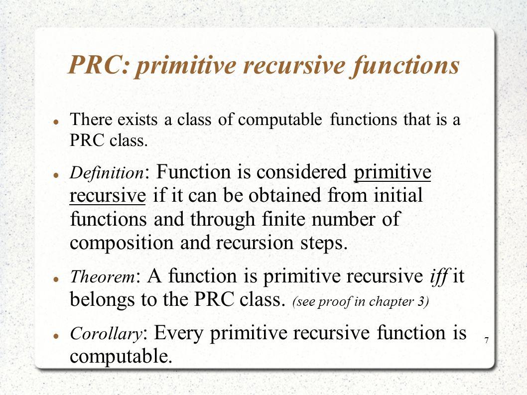 PRC: primitive recursive functions