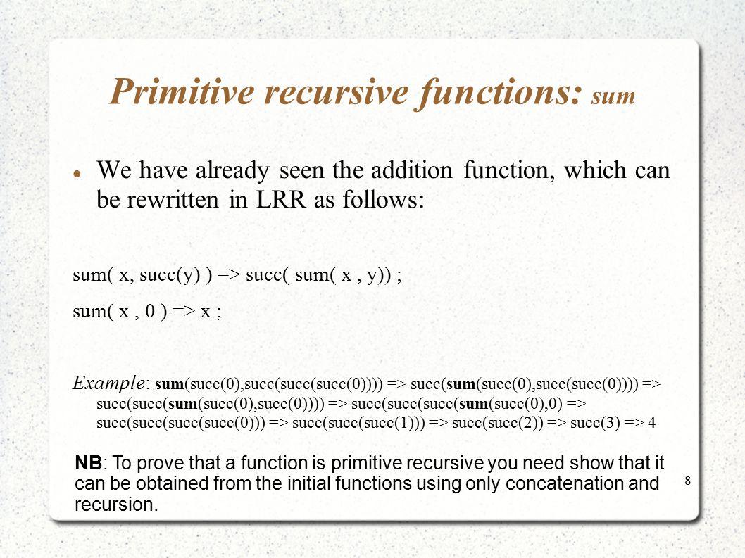 Primitive recursive functions: sum